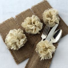 As vintage weddings are more popular these days along comes burlap & lace! This can even work for a barn wedding as well. We love these burlap silverware holders! This is a small detail that will dress up your tables and add the perfect touch to complete your vintage look. The burlap fabric flower on the top adds a unique touch that creates an antique look for your table settings. Find yours here, or see if you can even…