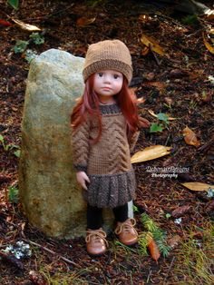 HandKnit Cabled Sweater Dress & Hat for Gotz HappyKidz dolls by Debonair Designs #DebonairDesigns