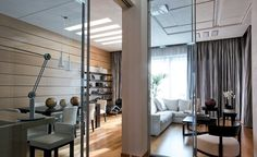 Apartment, White Sectional Sofa Brown Wooden Dining Table Wooden Floor Glass Sliding Door Flower Vase Chairs Draw Curtain Dining Chairs Pendant Lamps Cushion Coffee Table Stools And Mini Bar ~ Outstanding Artistic Interior Designs for Apartment Decoration