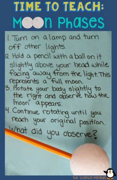 Moon Phases Model: Model the lunar cycle with a styrofoam ball, a pencil, and a lamp.