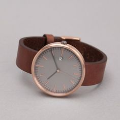 Uniform Wares 203 Series Calendar Wristwatch in PVD Rose / Brown Leather