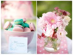 Macarons and flowers by Call me cupcake, via Flickr
