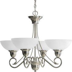 Progress Lighting Pavilion Collection 4-Light Brushed Nickel Chandelier Lighting Fixture