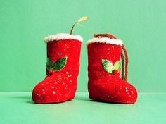 Vintage Ornaments. Two Red Santa Boots. Retro Christmas Tree Ornaments. by ThrowItForward on Etsy