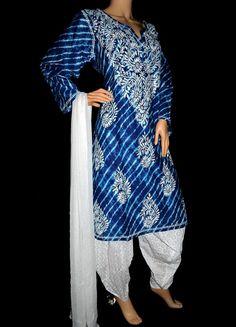 ISHIEQA's Blue Cotton Chikankari Kurti - SF0401B Types Of Stitches, Salwar Suits, Kurtis, Kimono Top, Pure Products, Silk, Gallery, Cotton, Blue