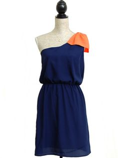 Game Changer One Shoulder Bow Dress - Navy + Orange