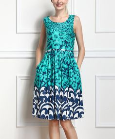 Turquoise  Navy Floral Sleeveless Dress