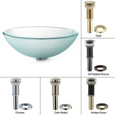 """Kraus GV-101FR 16-1/2"""" Frosted Glass Vessel Bathroom Sink - Includes Pop-Up Drai Oil Rubbed Bronze Fixture Lavatory Sink Glass"""