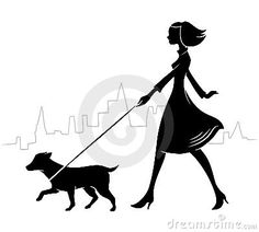 Girl Walking A Dog Stock Image - Image: 12160571