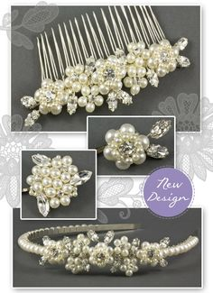 Pearl and Floral Wedding Hair Accessories perfect for a spring or summer wedding. Designed with both brides and bridesmaids in mind.