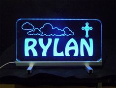 #Personalized #LED #Desk Sign. 3/8' Clear Engraved Acrylic, Remote Controlled Multi color changing #uniqueledproducts #Cleveland