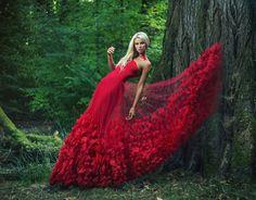 Poppy red dress made by Ewa Jobko - Costume Designer