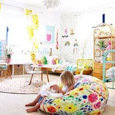 Toddler girls room more kids bedroom and decor ideas on the blog   colourful modern boho kids rooms