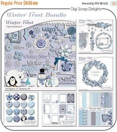 50% OFF TODAY Winter Frost Digital Scrapbook Bundle Blue Papers & 100+ Elements for Snow Scrapbooking #scrapbooking #winter #christmas #digiscrapdelights #happyholidays #crafts