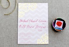 Pink + Gold Foil Heart Wedding Invitations by August Blume via Oh So Beautiful Paper (3)
