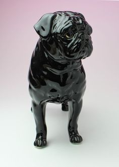 Black Pug Standing Dog Statue Ceramic Porcelain Figurine Japan NEW