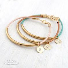 Personalized Bracelet - Free Shipping, Bracelet Gift, Gold Bar Leather Bracelet, Gold Tube Bracelet, Friendship Bracelet, Stack Bracelet