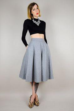46f62d360ebb40 1960's WOOL gray high waist Circle SKIRT by NOIROHIOVINTAGE Full Circle  Skirts, Swing Skirt,