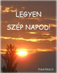 Peaceful orange sunset beyond the tree under fire orange cloud layers. Have a wonderful day! (Hungarian -  Legyen szep napod !)  Reggeli Útravaló Megerősítések © http://tudatkulcs.hu