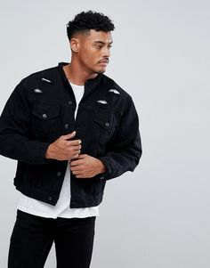 SikSilk Collarless Muscle Denim Jacket In Black With Distressing