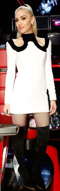 Who made  Gwen Stefani's white cut out dress and black thigh high boots?