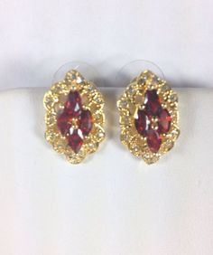 Vintage Earrings Dark Red/white Rhinestones gold tone Elegant #Unknown #Cluster #January Birthdays!