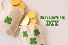 Lucky Clover Bag DIY from onecharmingparty.com #lucky #stpatricksday #diy