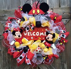 Disney Wreath, Mickey Mouse Decor, Minnie Mouse Decor, Everyday Wreath, All Season Wreath, Welcome Mickey Everyday on Etsy, $143.00
