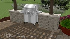Grill Station with Bar Design pairs perfectly with any of our wide pergolas with columns. Designed for roll around grills up to wide.