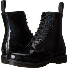 Dr. Martens Pascal 8-Eye Boot (Black Petrol) Women's Lace-up Boots ($96) ❤ liked on Polyvore featuring shoes, boots, ankle boots, black, short black boots, short leather boots, short boots and low black boots