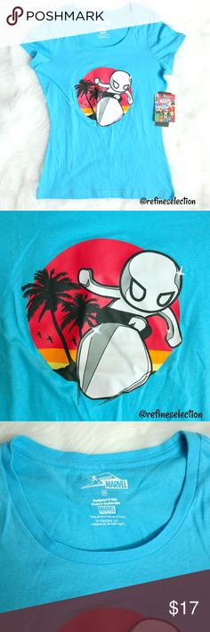 tokidoki x Marvel Silver Surfer Blue Tee Brand new with tags, Junior's size Medium. This tokidoki x Marvel Silver Surfer Blue Short Sleeve T-Shirt was a limited edition release! Features Silver Surfer amongst palm trees and a goreous sunset! Must have for any tokidoki or Silver Surfer fan. Scoopneck. The back neckline has the tokidoki x Marvel logo. I also have other tokidoki tees available in my closet! tokidoki Tops Tees - Short Sleeve