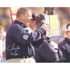 Charlie Weis Yelling from Sidelines 8x10 Photo - Charlie Weis a 1978 University of Notre Dame graduate and owner of four Super Bowl champion rings as products of a stellar 15-season career as a National Football League assistant was named the 28th head football coach of the Fighting Irish in 2004. Weis became the first Notre Dame graduate to serve as the Irish football coach on a full-fledged basis since Joe Kuharich a 38 Notre Dame graduate who coached at Notre Dame from 1959 through 62…