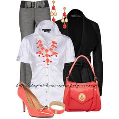 Coral. Cute -- the coral shoes and statement necklace make the outfit.