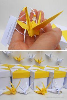 origami: souvenirs para Comunión - móvil de grulla y cajita (Tomoko Fuse)