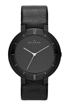Skagen 'Hiromichi Konno Collection' Round Leather Strap Watch, 40mm available at #Nordstrom