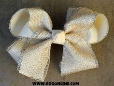 Ivory Sparkle Hair Bow www.gugonline.com $12.95