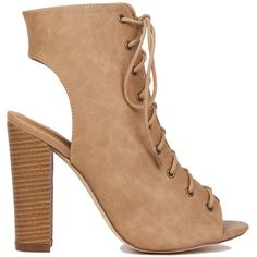 Peep Toe Lace Up Ankle Boots - Beige ($45) ❤ liked on Polyvore featuring shoes, boots, ankle booties, heels, ankle boots, botas, beige, high heel boots, peep-toe booties and lace up booties