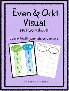 Help students stop counting pairs of numbers! This is a good visual for students who need a reminder to look at the digit in the ones place. Also prints well in grayscale. Even And Odd, Toolbox, Worksheets, Numbers, Students, Classroom, Chart, Map, Free