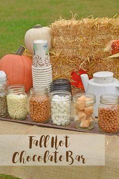 decor ideas for church Fall Season Hot Chocolate Bar For a Fall Party Get some great Fall party ideas for kids and for adults. Thanksgiving or simply fall party ideas for teens – awesome food, outdoor games, and elegant decoration ideas. Otoño Baby Shower, Bebe Shower, Fall Birthday Parties, Thanksgiving Parties, Harvest Birthday Party, Birthday Ideas, Birthday Games, Birthday Bash, Fall 1st Birthdays