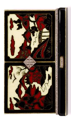 An art deco fourteen karat gold, enamel and diamond compact, Black Starr & Frost, circa 1920 the top panels designed as a mountainous scene in black, white and red enamel with rose-cut diamond detail, opening to reveal a powder compartment and three mirrors; signed Black Starr & Frost; gross