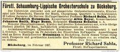 Original-Werbung/ Anzeige 1897 - FÜRSTL. SCHAUMBURG- LIPPISCHE ORCHESTERSCHULE…