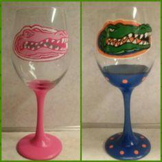 His & hers Florida Gator wine glasses. Too bad we aren't wine drinkers.
