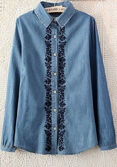 Blue Plain Round Neck Long Sleeve Chiffon Blouse