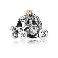 PANDORA | Disney Cinderella pumpkin coach silver charm with 14k and cubic zirconia