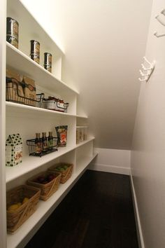 Under stairs closet idea...shelves on one side, hooks (for outdoor furniture cushions?) on the other