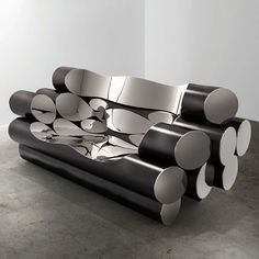 From Ben Brown Fine Arts, Ron Arad, Tuba Mirror polished stainless steel and patinated mild steel, 90 × 231 × 88 cm Plywood Furniture, Steel Furniture, Funky Furniture, Furniture Design, Furniture Ideas, Furniture Chairs, Painting Furniture, Ron Arad, Futuristic Furniture