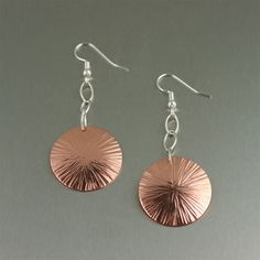 Chased Copper Disc Earrings