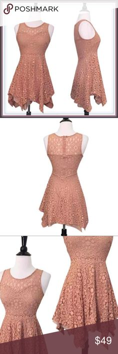 ModCloth Asymmetrical Lace Mini Dress ➖BRAND: ModCloth  ➖SIZES: XS ➖STYLE: A gorgeous dusty rose lace dress with a handkerchief hem. There is an exposed zipper on the back.           ❌NO TRADE sexy club Modcloth Dresses Asymmetrical