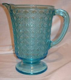 VINTAGE MCKEE CANE LARGE BLUE EAPG PRESSED GLASS FOOTED WATER PITCHER