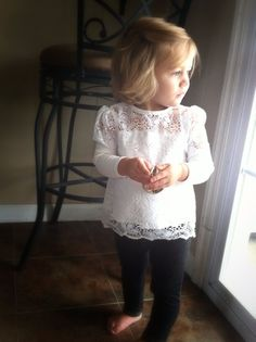 Adorable white crochet lace top - baby girl fashion